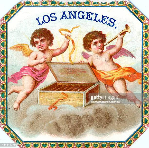 A lithographic cigar box label featuring flying puti with a box of tobaccos is printed in Havana Cuba around 1880 One cupid has a trumpet while the...