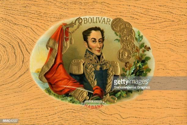 Lithographic cigar box label from Havana around 1910 depicting Simon Bolivar