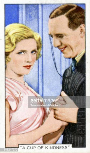 Lithographic cigarette card features a scene from the film 'A Cup Of Kindness' , 1935. The card is part of a series entitled 'Shots from Famous...