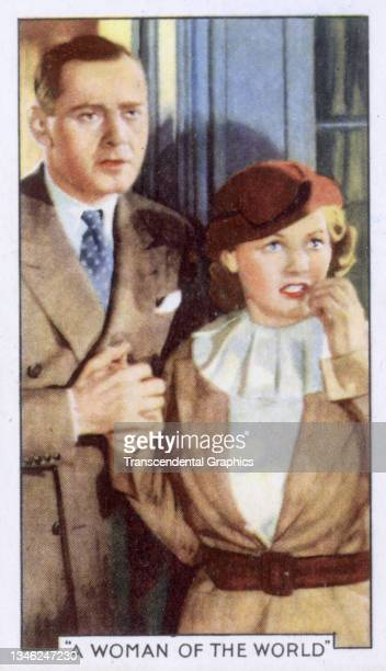 Lithographic cigarette card features a scene from the film 'A Woman Of The World' , 1935. The card is part of a series entitled 'Shots from Famous...