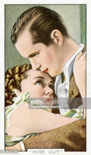 Lithographic cigarette card features a scene from the film 'Hide-Out' , 1935. The card is part of a series entitled 'Shots from Famous Films'.