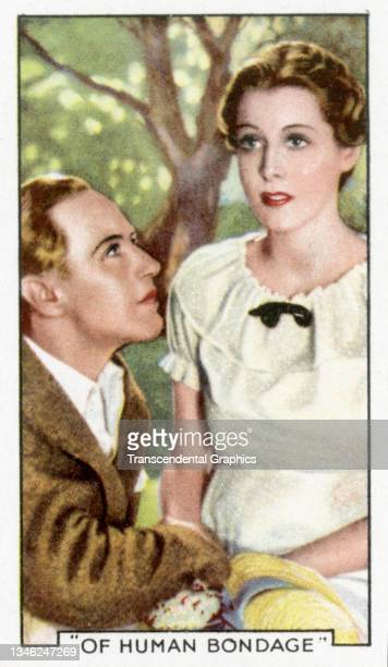 Lithographic cigarette card features a scene from the film 'Of Human Bondage' , 1935. The card is part of a series entitled 'Shots from Famous Films'.