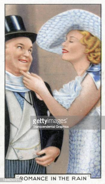 Lithographic cigarette card features a scene from the film 'Romance in the Rain' , 1935. The card is part of a series entitled 'Shots from Famous...