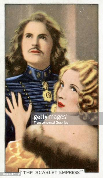 Lithographic cigarette card features a scene from the film 'Scarlet Empress' , 1935. The card is part of a series entitled 'Shots from Famous Films'.