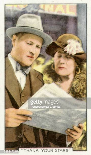 Lithographic cigarette card features a scene from the film 'Thank Your Stars' , 1935. The card is part of a series entitled 'Shots from Famous Films'.