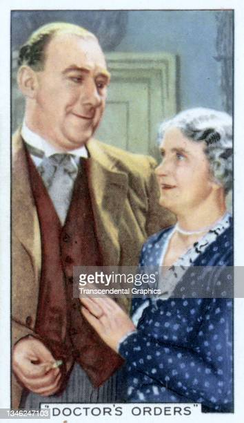 Lithographic cigarette card features a scene from the film 'The Doctor's Orders' , 1935. The card is part of a series entitled 'Shots from Famous...