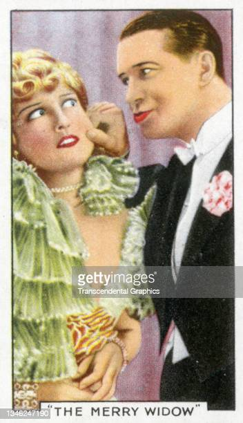 Lithographic cigarette card features a scene from the film 'The Merry Widow' , 1935. The card is part of a series entitled 'Shots from Famous Films'.