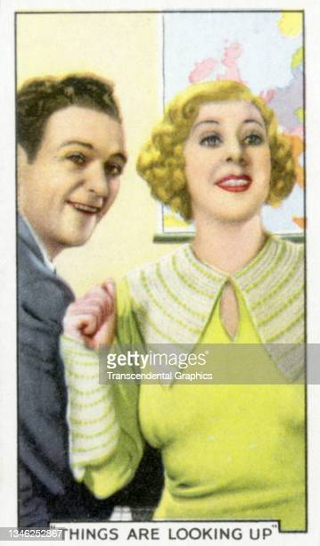 Lithographic cigarette card features a scene from the film 'Things Looking Up' , 1935. The card is part of a series entitled 'Shots from Famous...