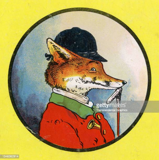 Lithographic color plate features a profile illustration of an anthropomorphic fox dressed in hunting clothes, 1921. It appears in the children's...