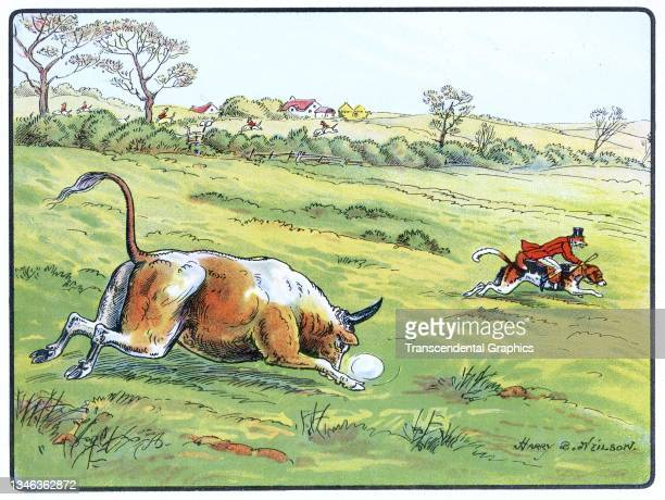 Lithographic color plate features an illustration of a bull chasing an anthropomorphic fox dressed in hunting clothes and riding a dog, 1921. It...