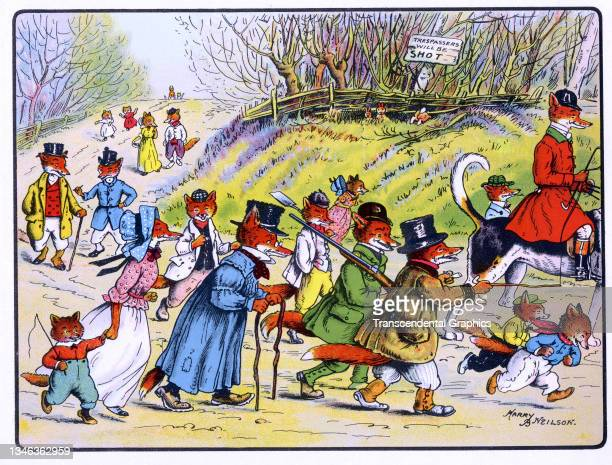 Lithographic color plate features an illustration of a large group of anthropomorphic foxes out for a stroll, 1921. It appears in the children's book...