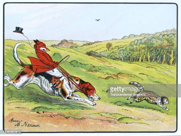 Lithographic color plate features an illustration of an anthropomorphic fox dressed in hunting clothes and riding a dog who chases after a cat, 1921....