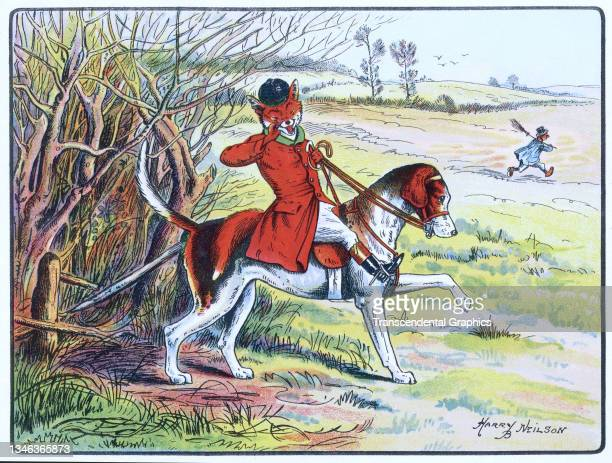 Lithographic color plate features an illustration of an anthropomorphic fox dressed in hunting clothes and riding a dog as he calls to his friends,...