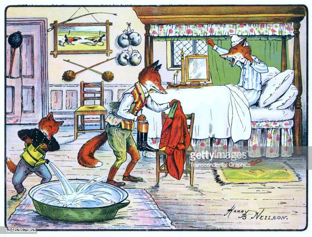 Lithographic color plate features an illustration of an anthropomorphic fox family as they get ready for bed, 1921. It appears in the children's book...