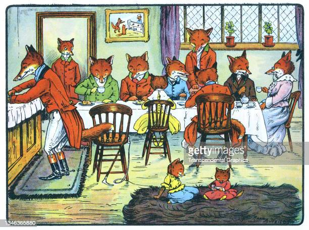 Lithographic color plate features an illustration of an anthropomorphic fox family gathered around a dining room table for a meal, 1921. It appears...