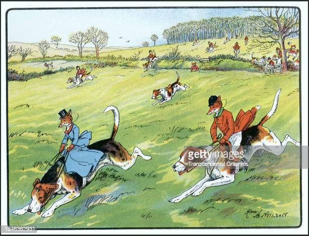Lithographic color plate features an illustration of anthropomorphic foxes dressed in hunting clothes and riding dogs, 1921. It appears in the...