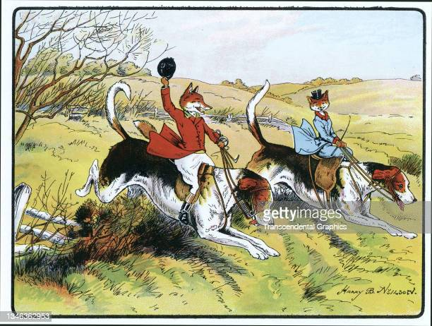 Lithographic color plate features an illustration of anthropomorphic foxes dressed in hunting clothes and riding dogs as they jump over a fence,...