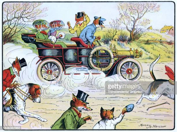 Lithographic color plate features an illustration of anthropomorphic foxes as they ride in a motorcar, 1921. It appears in the children's book 'The...