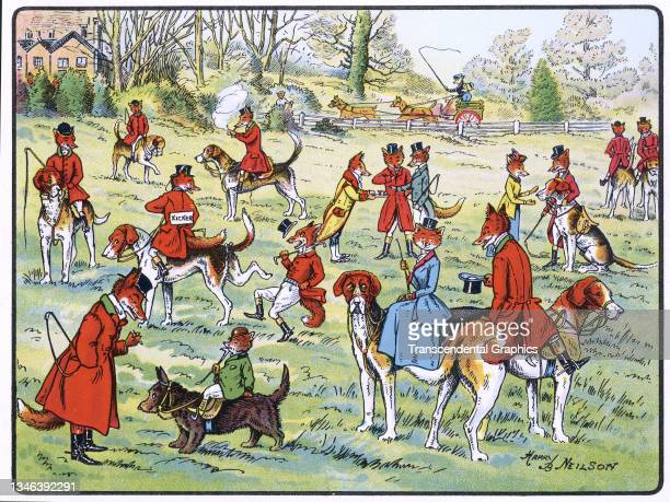 Lithographic color plate features an illustration of anthropomorphic foxes dressed in hunting clothes as they talk before a hunt, 1921. It appears in...