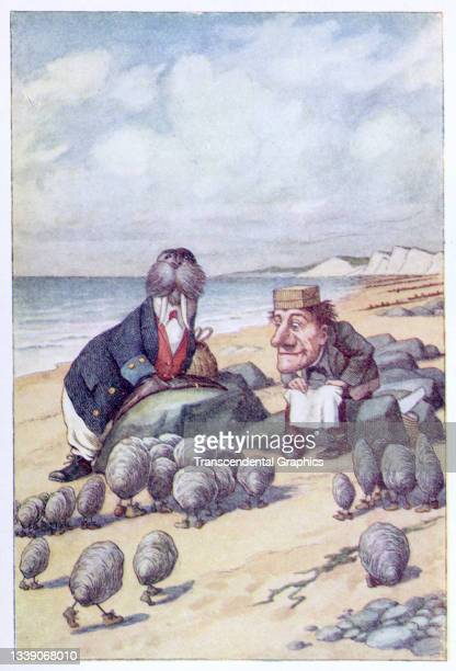 Lithographic color plate , from Lewis Carroll's 'Through the Looking-Glass, and What Alice Found There,' accompanies the poem 'The Walrus and the...