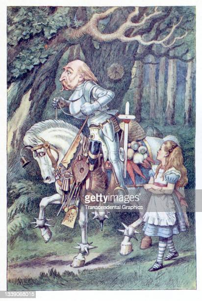 Lithographic color plate , from Lewis Carroll's 'Through the Looking-Glass, and What Alice Found There,' features the White Knight on his horse and...