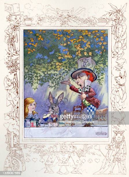 Lithographic color plate , from the book 'Songs from Alice in Wonderland and Through the Looking Glass,' features Alice and the White Rabbit at the...