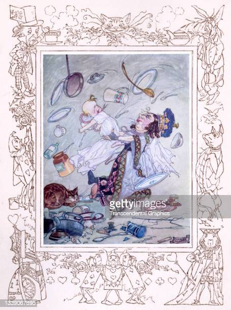Lithographic color plate , from the book 'Songs from Alice in Wonderland and Through the Looking Glass,' features the Duchess shaking her baby in the...