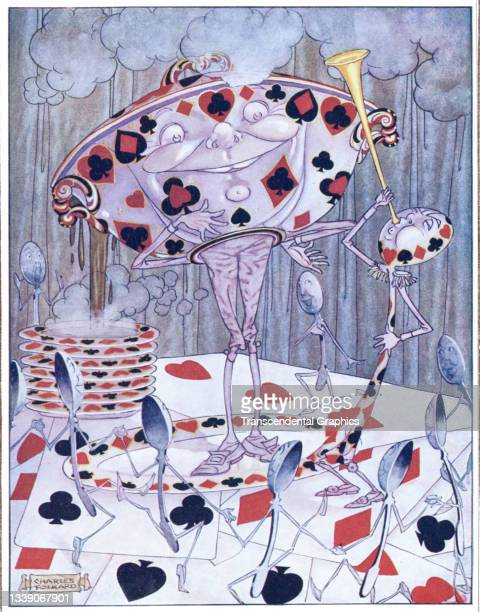 Lithographic color plate , from the book 'Songs from Alice in Wonderland and Through the Looking Glass,' features a soup tureen and bowls, decorated...