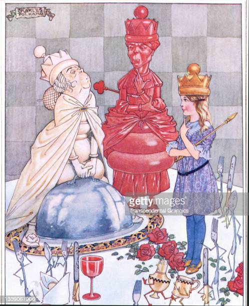 Lithographic color plate , from the book 'Songs from Alice in Wonderland and Through the Looking Glass,' features the White and Red queens with...