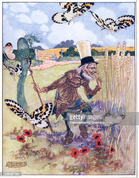 Lithographic color plate , from the book 'Songs from Alice in Wonderland and Through the Looking Glass,' features the Aged-Aged Man in a field with a...
