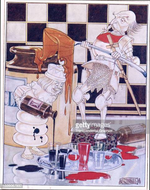 Lithographic color plate , from the book 'Songs from Alice in Wonderland and Through the Looking Glass,' features the White Queen and the White...