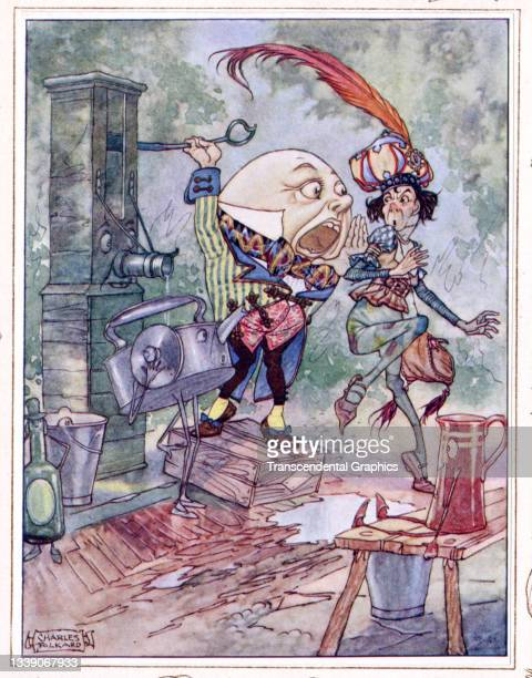 Lithographic color plate , from the book 'Songs from Alice in Wonderland and Through the Looking Glass,' features Humpty Dumpty, 1927. This book, a...