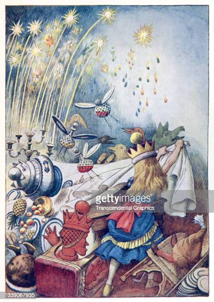 Lithographic color plate , from the book 'Songs from Alice in Wonderland and Through the Looking Glass,' features Alice as she upsets the Red Queen's...