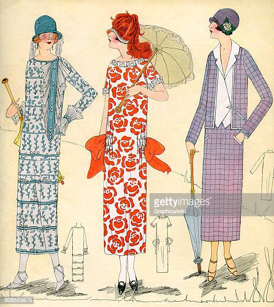 Lithographic fashion print showing three women sporting spring and summer styles of the flapper era c 1920