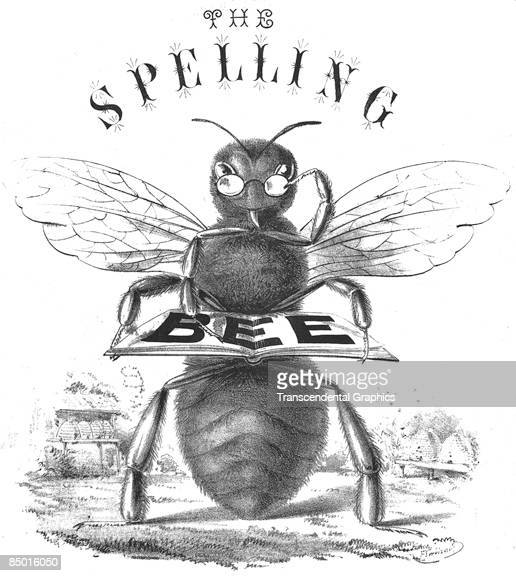 Lithographic illustration for a spelling bee literally depicting a bee holding an open book upon which the word BEE is spelled United States ca1865