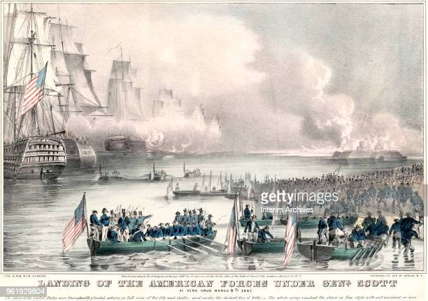 Lithographic illustration showing the landing of the American forces under General Winfield Scott at Vera Cruz, Mexico during the Mexican-American...
