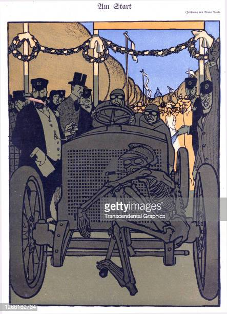 Lithographic illustration shows a race car while a skeleton on the bumper as a warning about automobile racing Germany 1906