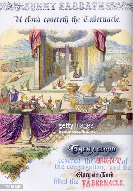Lithographic plate depicts a scene and text from the Bible story of 'A Cloud Covereth the Tabernacle late 19th century The book whose full title is...