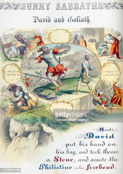 Lithographic plate depicts a scene and text from the Bible story of 'David and Goliath' late 19th century The book whose full title is 'Sunny...