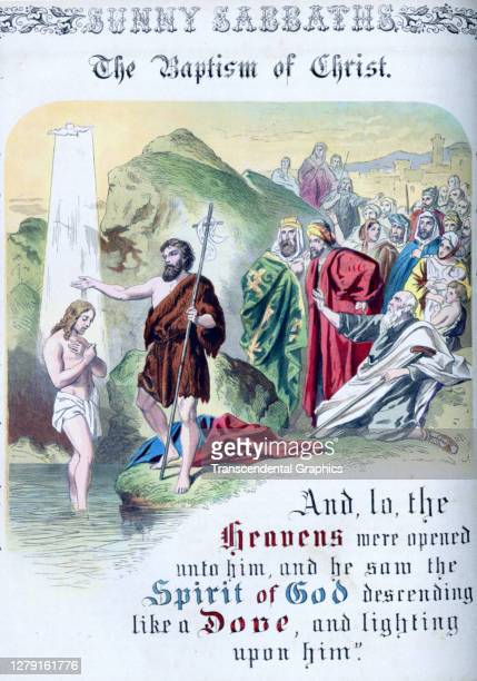 Lithographic plate depicts a scene and text from the Bible story of 'The Baptism of Christ' late 19th century The book whose full title is 'Sunny...