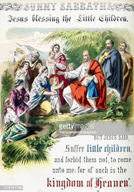Lithographic plate depicts a scene and text from the Bible story of 'Jesus Blessing the Little Children' late 19th century The book whose full title...