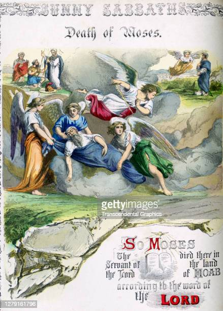 Lithographic plate depicts a scene and text from the Bible story of the 'Death of Moses' late 19th century The book whose full title is 'Sunny...