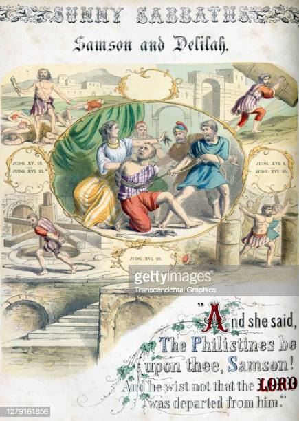Lithographic plate depicts a scene and text from the Bible story of 'Samson and Delilah' late 19th century The book whose full title is 'Sunny...