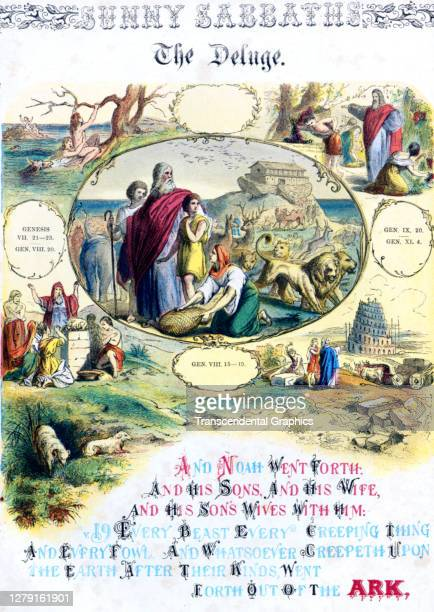 Lithographic plate depicts a scene and text from the Bible story of 'The Deluge' late 19th century The book whose full title is 'Sunny Sabbaths or...