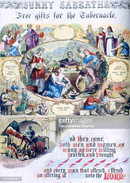 Lithographic plate depicts a scene and text from the Bible story of 'Free Gifts for the Tabernacle' late 19th century The book whose full title is...