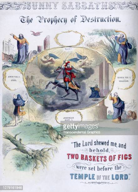 Lithographic plate depicts a scene and text from the Bible story of 'The Prophecy of Destruction' late 19th century The book whose full title is...