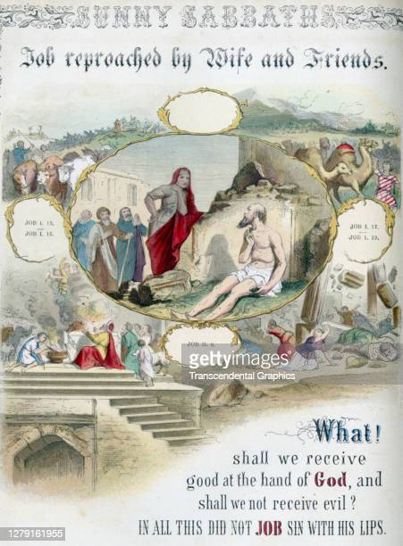 Lithographic plate depicts a scene and text from the Bible story of 'Job Reproached by Wife and Friends' late 19th century The book whose full title...