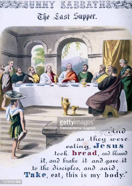 Lithographic plate depicts a scene and text from the Bible story of 'The Last Supper' late 19th century The book whose full title is 'Sunny Sabbaths...