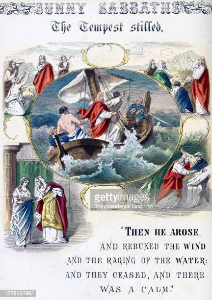 Lithographic plate depicts a scene and text from the Bible story of 'The Tempest Stilled' late 19th century The book whose full title is 'Sunny...