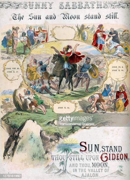 Lithographic plate depicts a scene and text from the Bible story of 'The Sun and Moon Stand Still' late 19th century The book whose full title is...